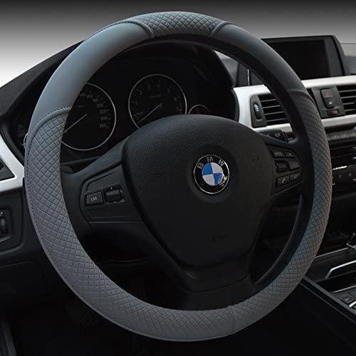 HCMAX Microfiber Vehicle Steering Wheel Cover Quality Comfy Car Steering Wheel Protector Universal Diameter 38cm(15) Leather Gray