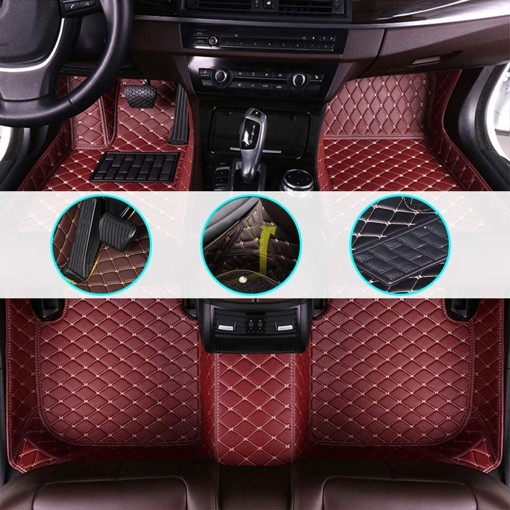 changlaiwang Car Floor Mats for Lexus is-C 2009-2011 Can be Customized for 99% of Cars Wine red Full Set