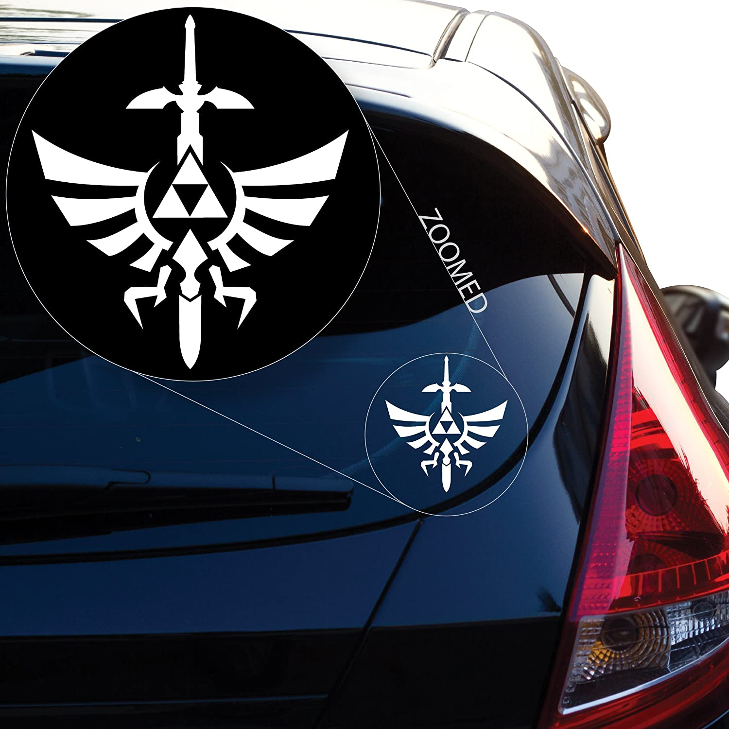 Yoonek Graphics Zelda Triforce with Sword Decal Sticker for Car Window, Laptop, Motorcycle, Walls, Mirror and More. # 554 (4