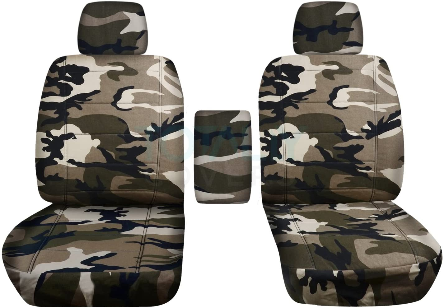 Totally Covers Compatible with 2009-2014 Ford F-150 Camo Truck Bucket Seat Covers with Center Armrest: Tan & Beige Camouflage (16 Prints) F-Series F150 Front