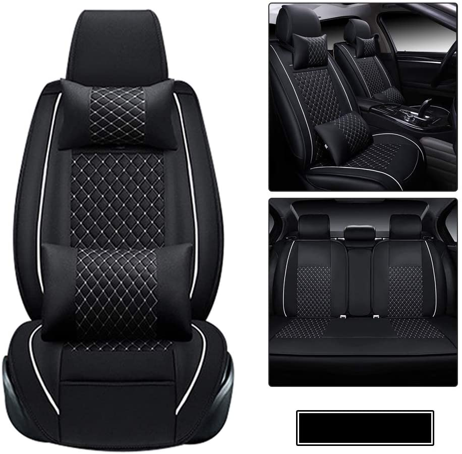 Car Seat Covers PU Leather Waterproof fit for Volkswagen Golf 5-Seats car seat Protector- with Headrest and Lumbar Cushion Black and White