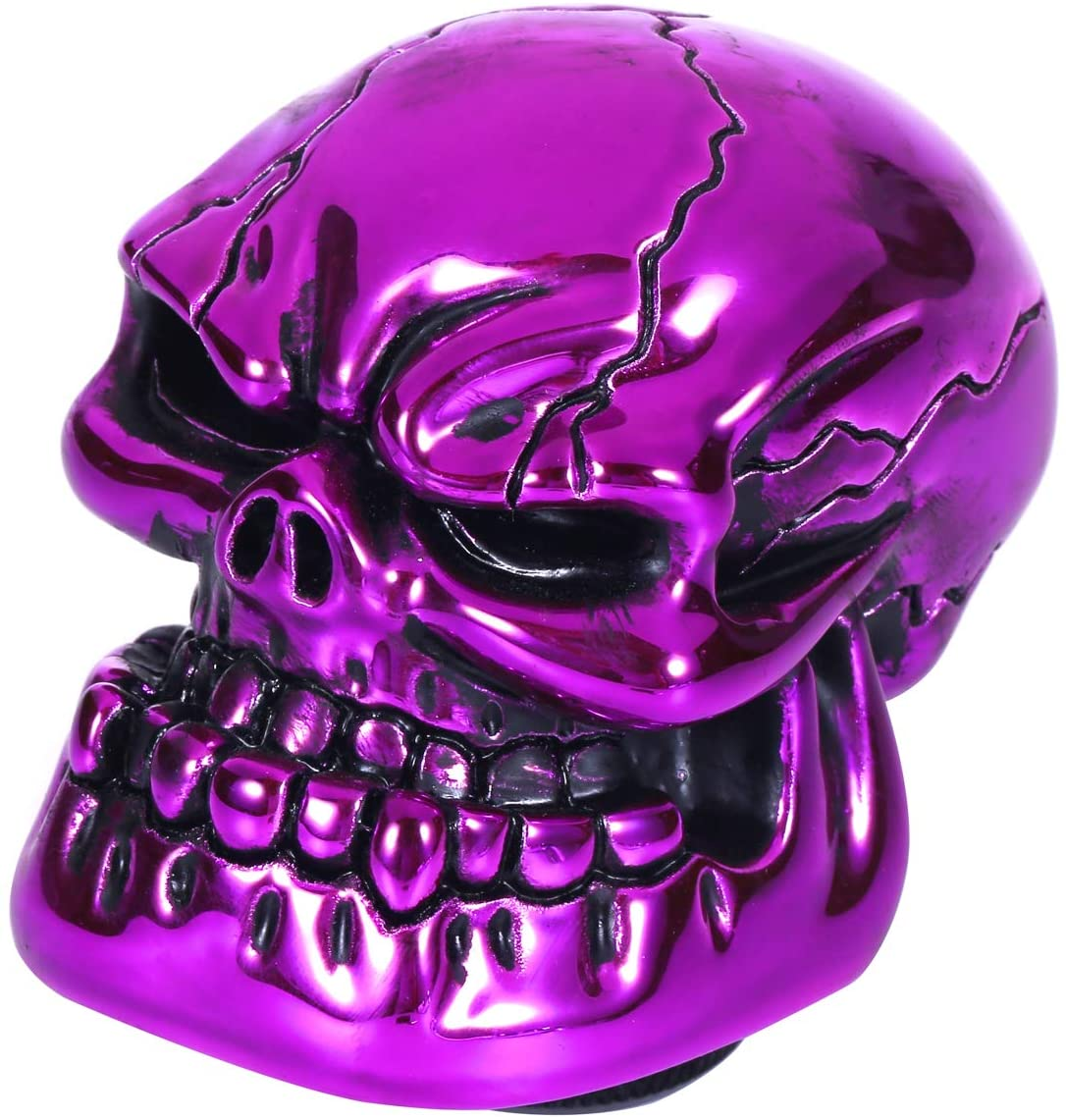 Bashineng Gear Stick Knob Skull Style Shift Head Replacement Shifter Fit Most Manual Automatic Cars (Purple)