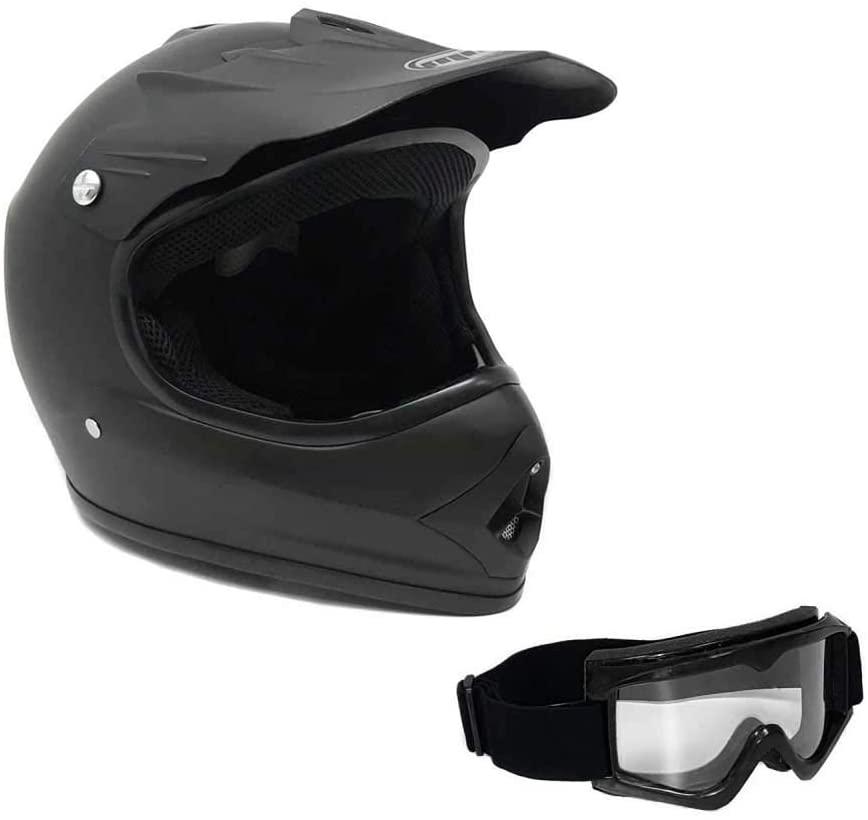 MMG Motorcycle Youth Kids Helmet Off-Road MX ATV Dirt Bike Motocross UTV Rubber Black Large with Goggles Model No 12