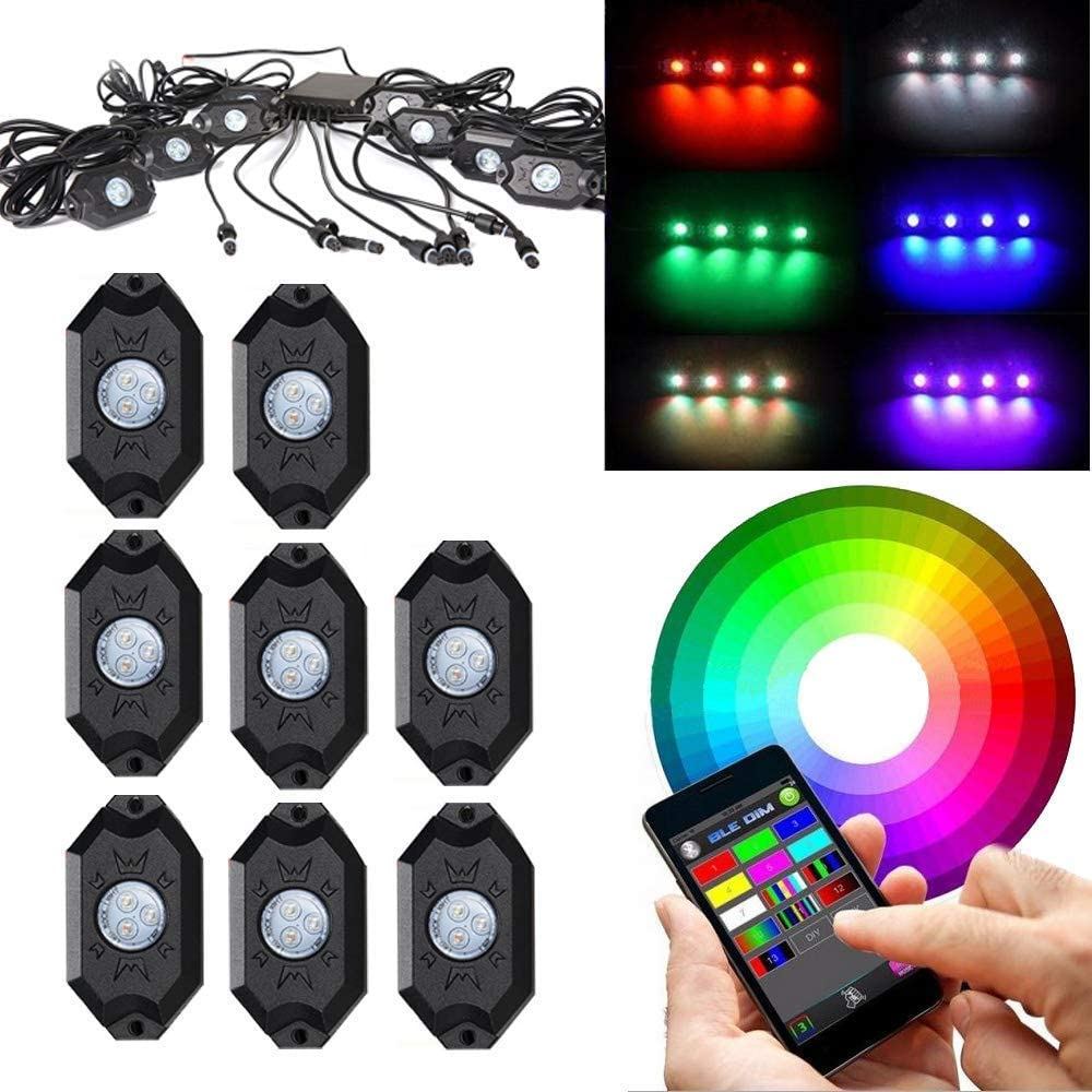 KABOCHO RGB LED Rock Light Kits with Bluetooth Controller, Timing Function, Music Mode Multicolor Neon Lights Under Off Road Truck SUV ATV Motorcycle(8 Pcs)