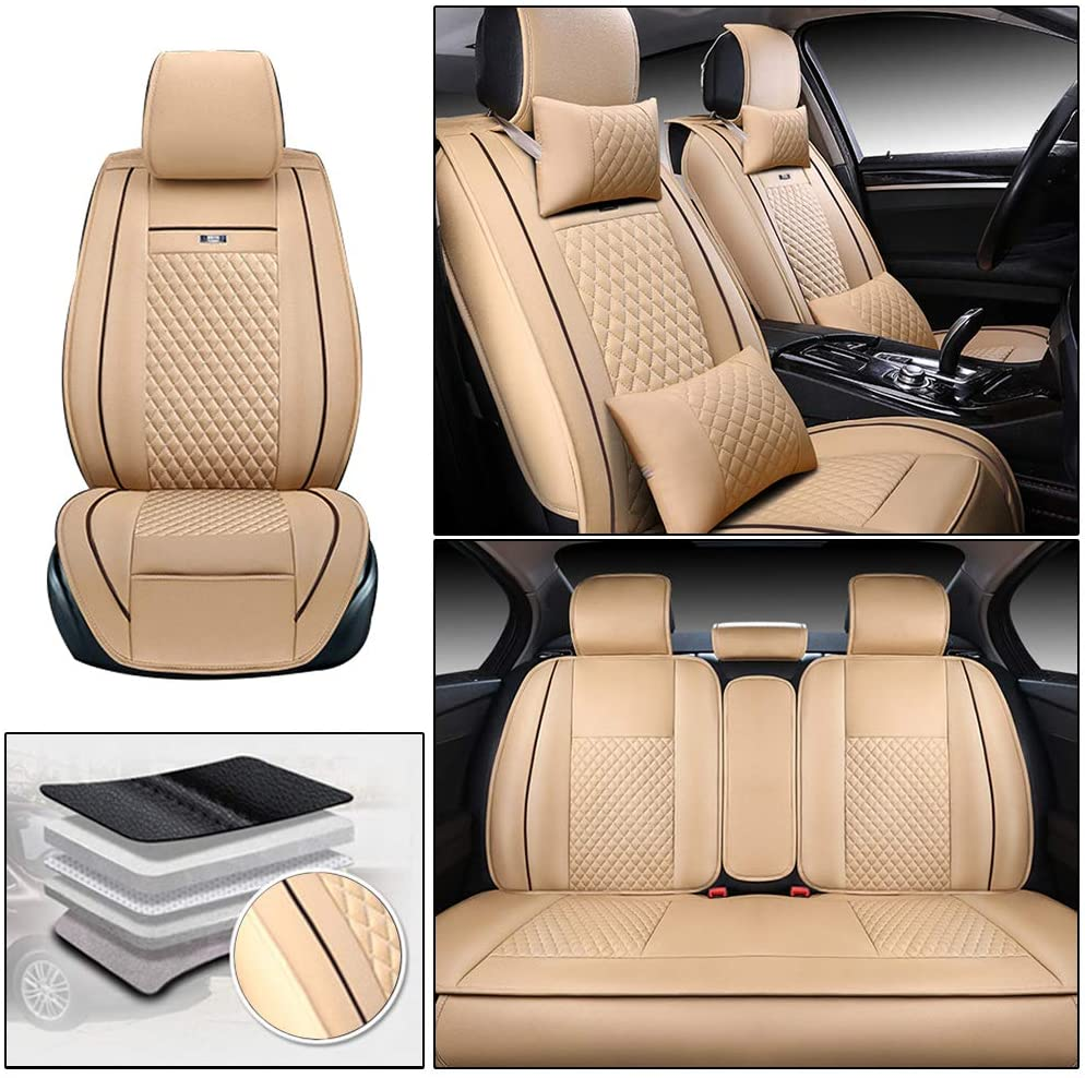 ALLYARD Car Seat Covers for Chevrolet Aveo Captiva Colorado Cruze Malibu Monza Sail Silverado 5-Seat Custom PU Leather All Weather Waterproof Protetion Full Set Seat Covers Easy Install Beige
