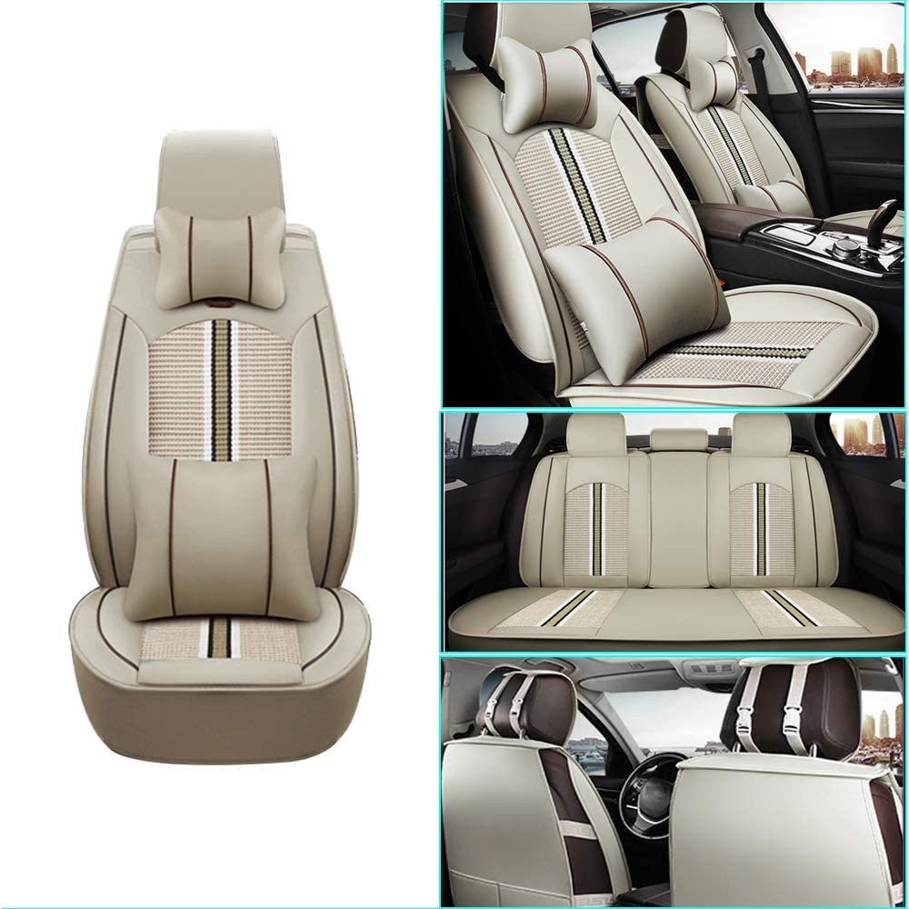 Car Seat Cover for Car Seat Cover for Suzuki Alivio Front+Rear Seats Protector Covers Waterproof Soft PU Leather Cushion 5-Seater Car Pad Stripe Beige 9PCS