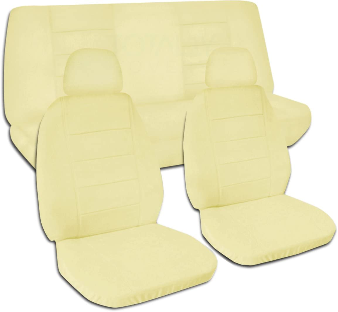Totally Covers Solid Color Car Seat Covers w 2 Front Headrest Covers: Cream - Semi-Custom Fit - Full Set - Will Make Fit Any Car/Truck/Van/RV/SUV (22 Colors)