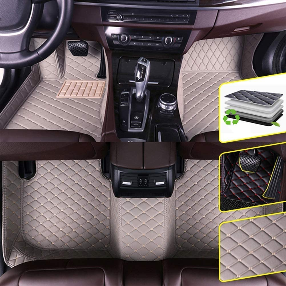 DBL Custom Car Floor Mats for Ford 2016-2018 Ford Explorer Waterproof Non-Slip Leather Carpets Automotive Interior Accessories 1 Set Gray
