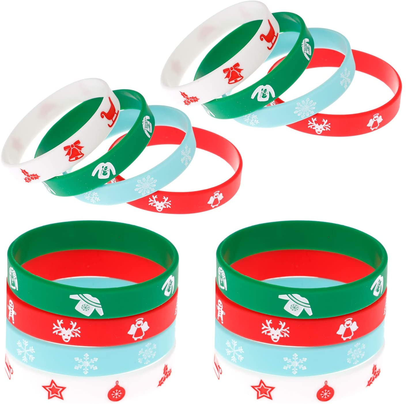 48 Pieces Christmas Silicone Bracelets Wristband for Christmas Party Supplies, 4 Styles
