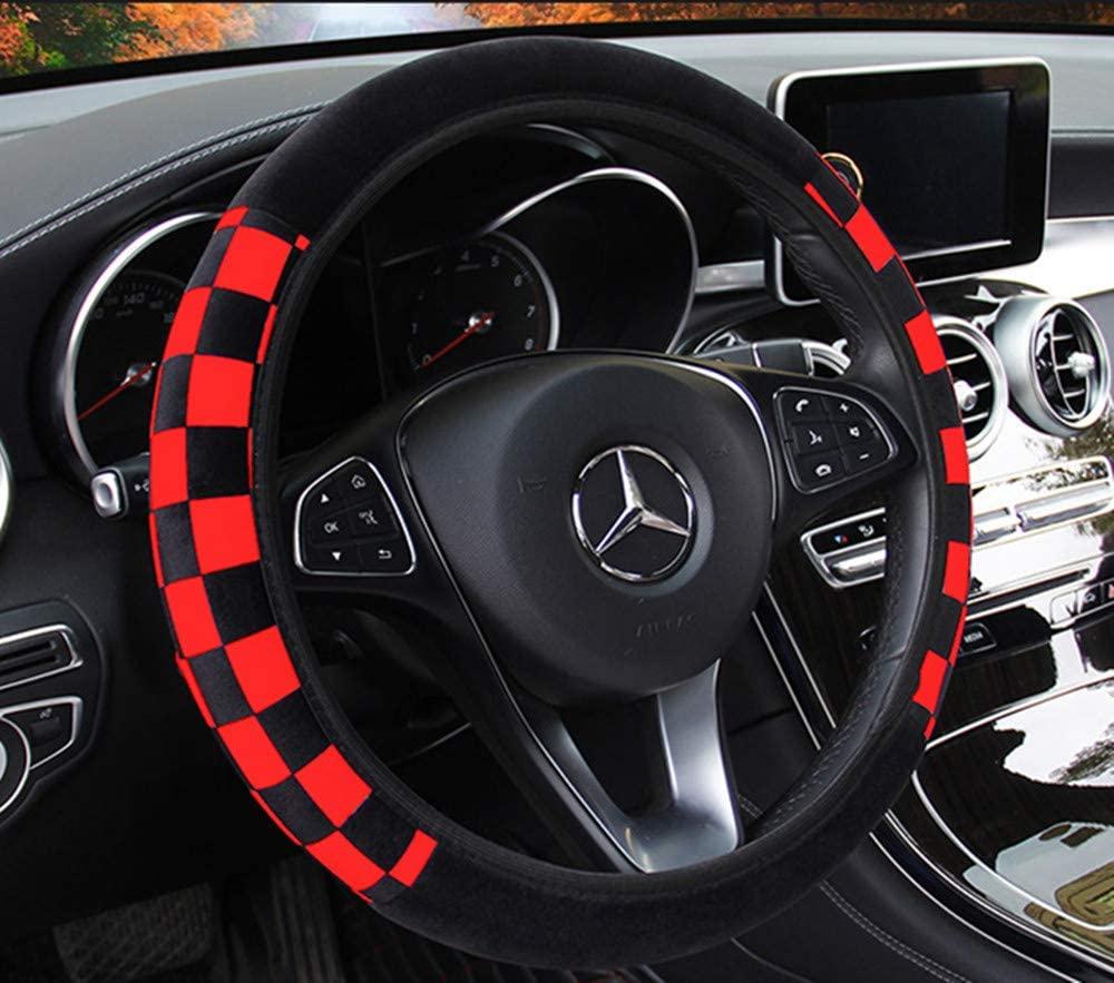 ZHOL Universal 15 inch Steering Wheel Cover Elastic Plush, Keep Warm, Breathable, Anti-Slip, Odorless, Black and Red
