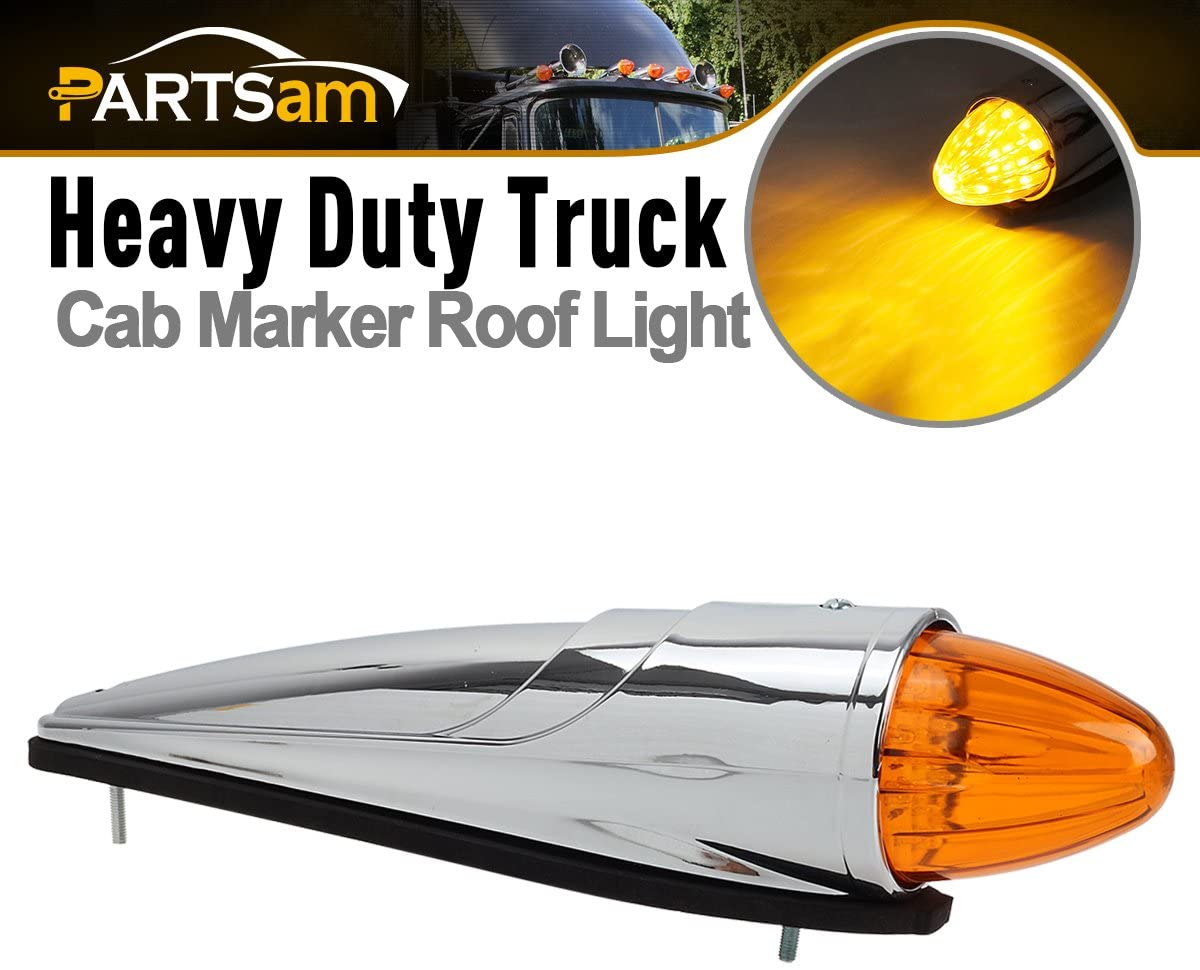 Partsam 1 x 17 LED Amber Torpedo Cab Marker Roof Top Light Assembly Chrome Compatible with Peterbilt/Kenworth/Freightliner