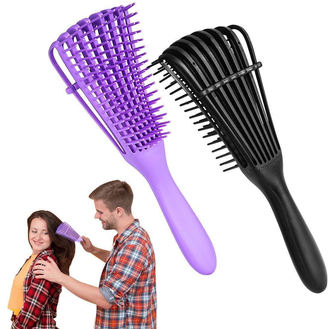 Hunputa Detangler Brush, Easy Detangling Hair Detangle Brush Curve for Wet or Dry Brush for Curly Thick Straight Coily American Afro 3a to 4c Textured Hair for Lovers &Couples & Kids (Black & Purple)