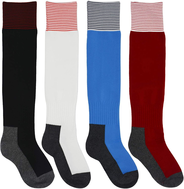 Kids Football Socks 4 Pairs Boys Girls US 10.5-3