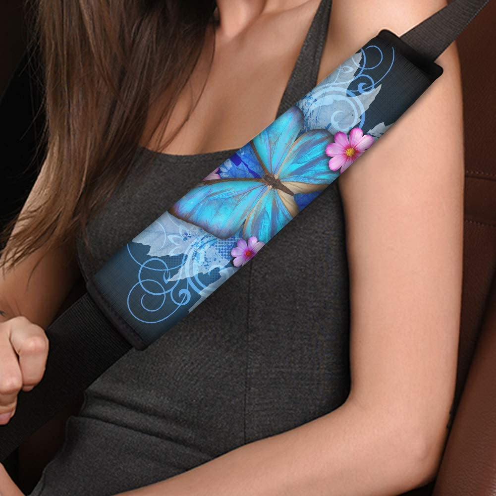 BIGCARJOB Universal Car Seat Belt Pads Cover,Classical Butterfly Print Seatbelt Shoulder Strap Covers Harness Pad for Womwen Girl