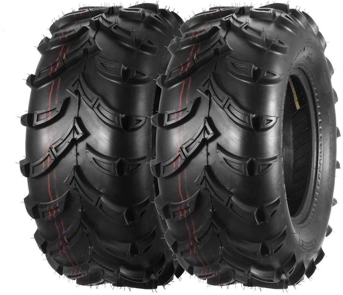MaxAuto Rear ATV Tires 25x10-12 UTV Tires 25x10x12 6PR Tubeless, 16mm Deep Tread, MaxLoad 420lb/7psi, Set of 2