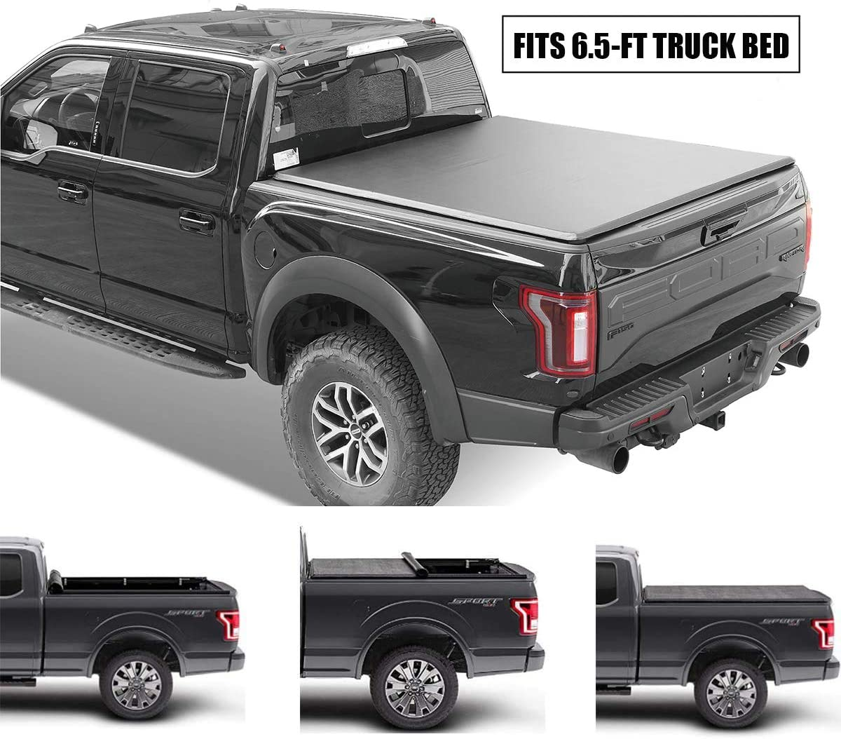 Gevog Soft Roll-Up Truck Bed Tonneau Cover Assembly for 2015-2020 Ford F150 6.5 (78.8-78.9) Styleside Bed