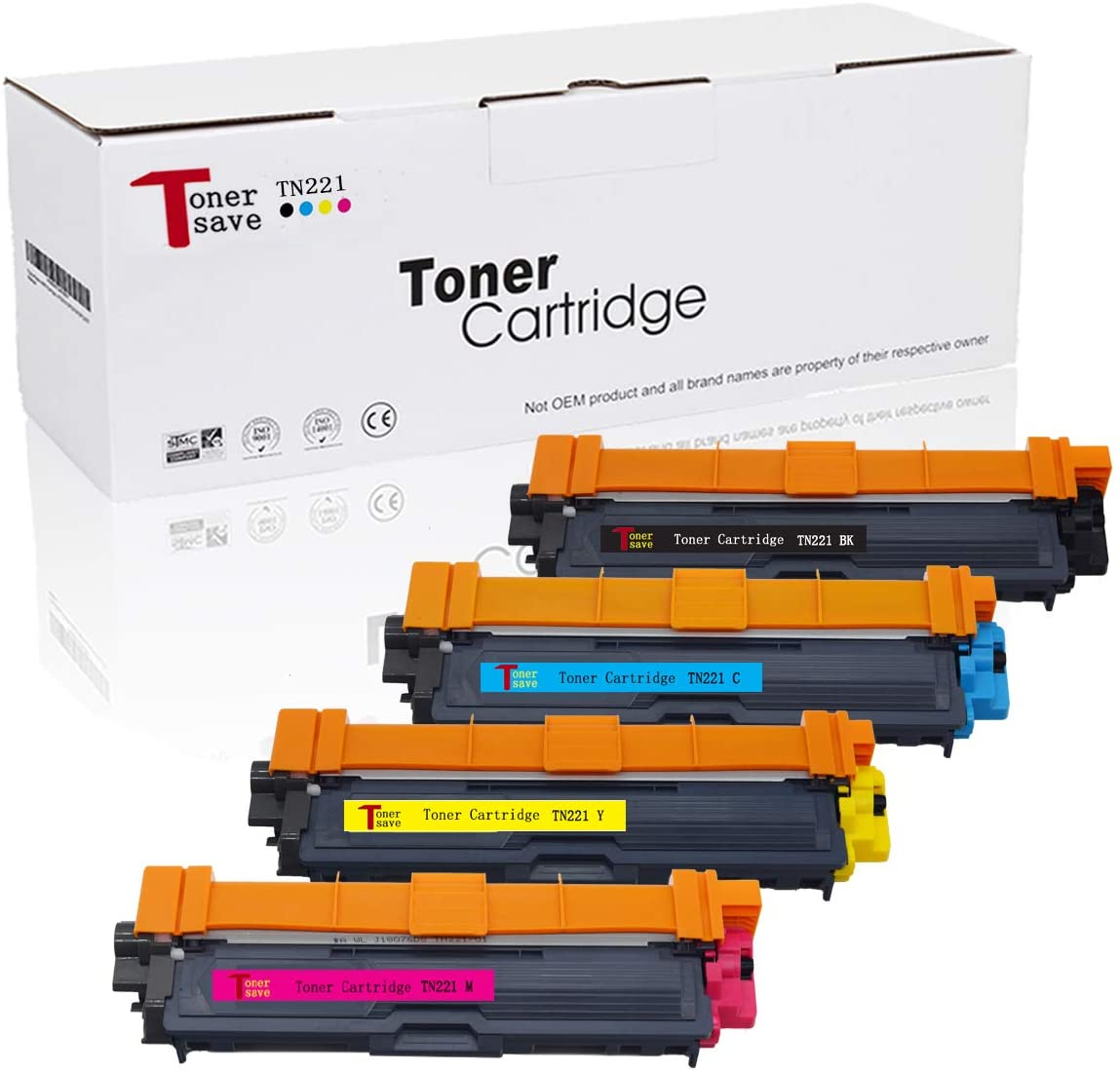 TonerSave 4PK TN221 TN-221 TN225 TN-225 Toner for Brother HL-3170CDW HL-3180 MFC-9130CW HL-3140CW MFC-9330CDW MFC-9340CDW