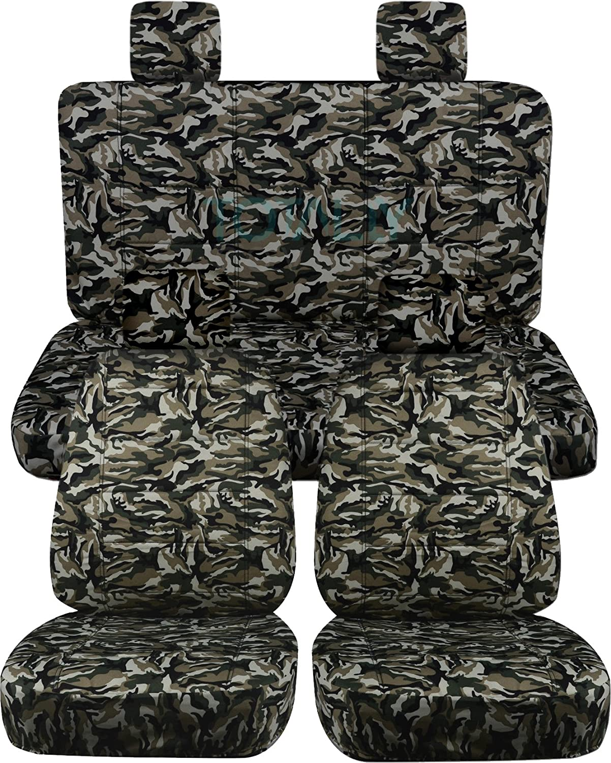 Totally Covers Compatible with 2007-2010 Jeep Wrangler JK Camo Seat Covers: Beige & Green Camouflage - Full Set: Front & Rear (19 Prints) 2-Door/4-Door Complete Back Solid/Split Bench