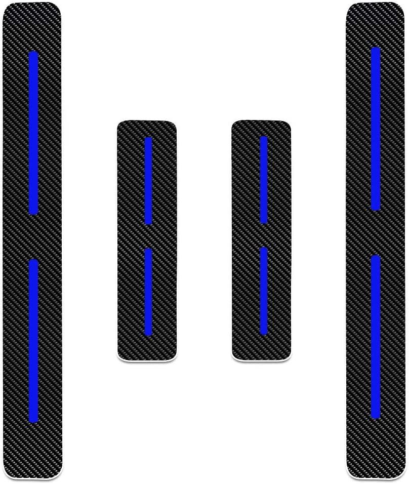 for Chevrolet Spark Aveo Cruze Malibu Trax Orlando Captiva Volt Carbon Fiber Door Sill Guard Protector Scuff Plate Cover Blue 4Pcs