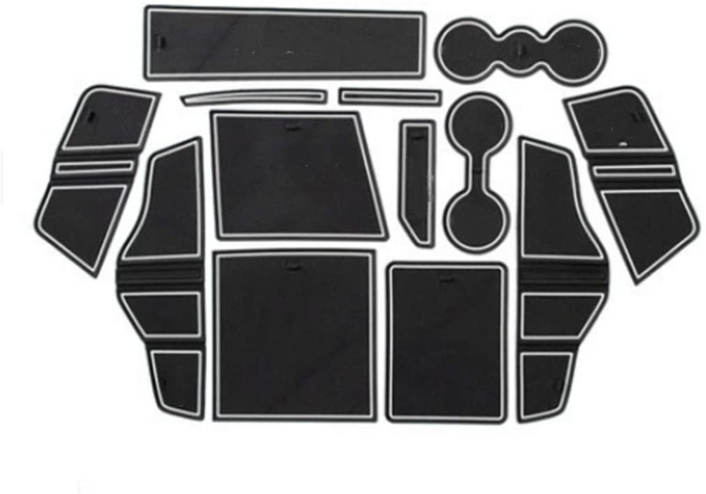 for Volkswagen Passat 2019 Custom Gate Slot Pad Cup Holder Pads Door Groove Mat Center Organizer Storage Box Non-Slip Silica Liner 13pcs White