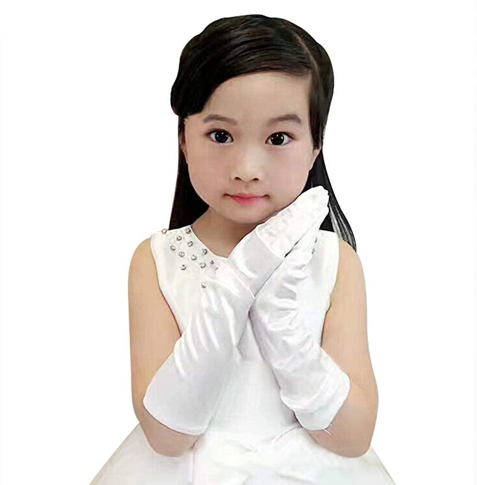 Princess Gloves Girl Satin Evening Tea Party First Communion Cosplay Costume Birthday Halloween Dress Elbow Stretch Mittens