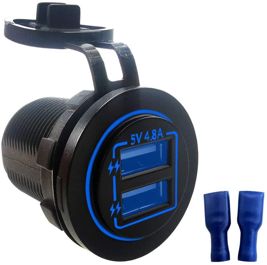 Dual USB Charger Socket 4.8A 12V/24V LED for Car Boat Marine Motorcycle ATV RV(Blue)