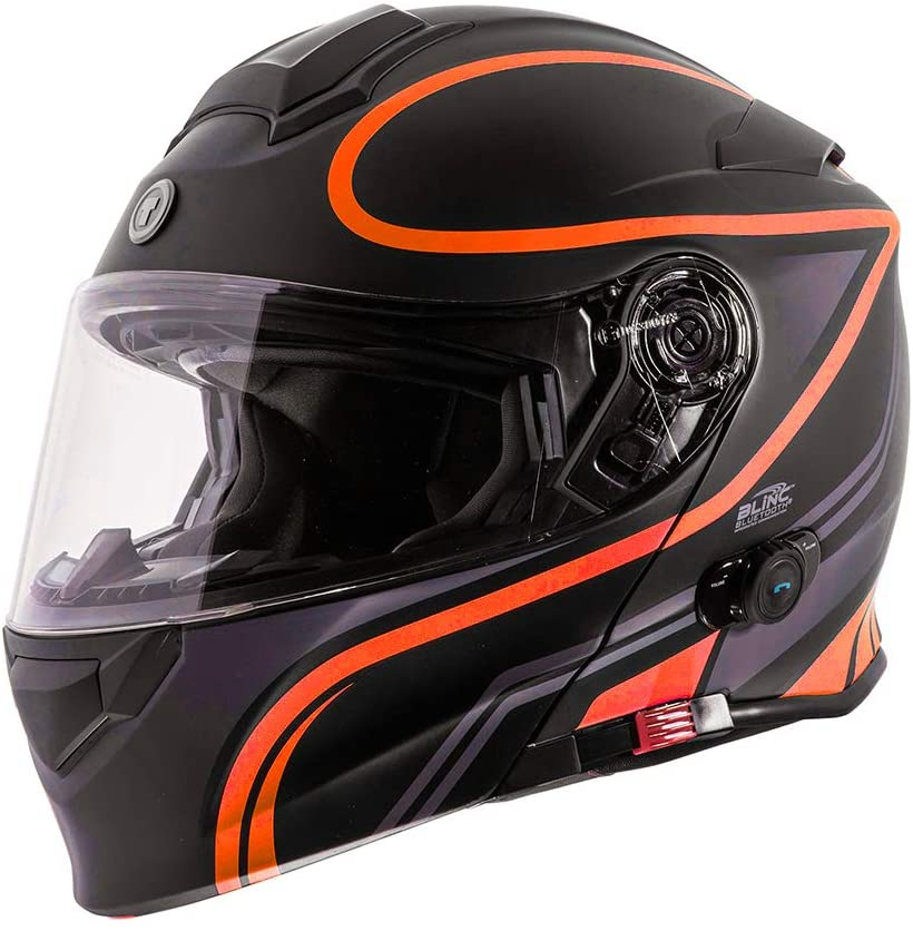TORC Unisex-Adult Flip-Up Motorcycle Helmet (Matte Black Orange, XX-LARGE)
