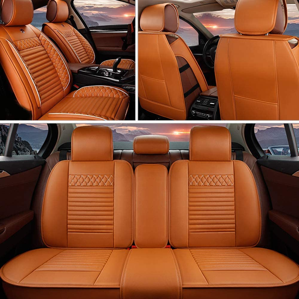MyGone Car Seat Covers for Kia Soul 2011-2018 Leather Protector, Front + Rear 5 Seat Full Set - Breathable Soft Cushion Waterproof - Universal for Sedan SUV Truck Cayenne Yellow