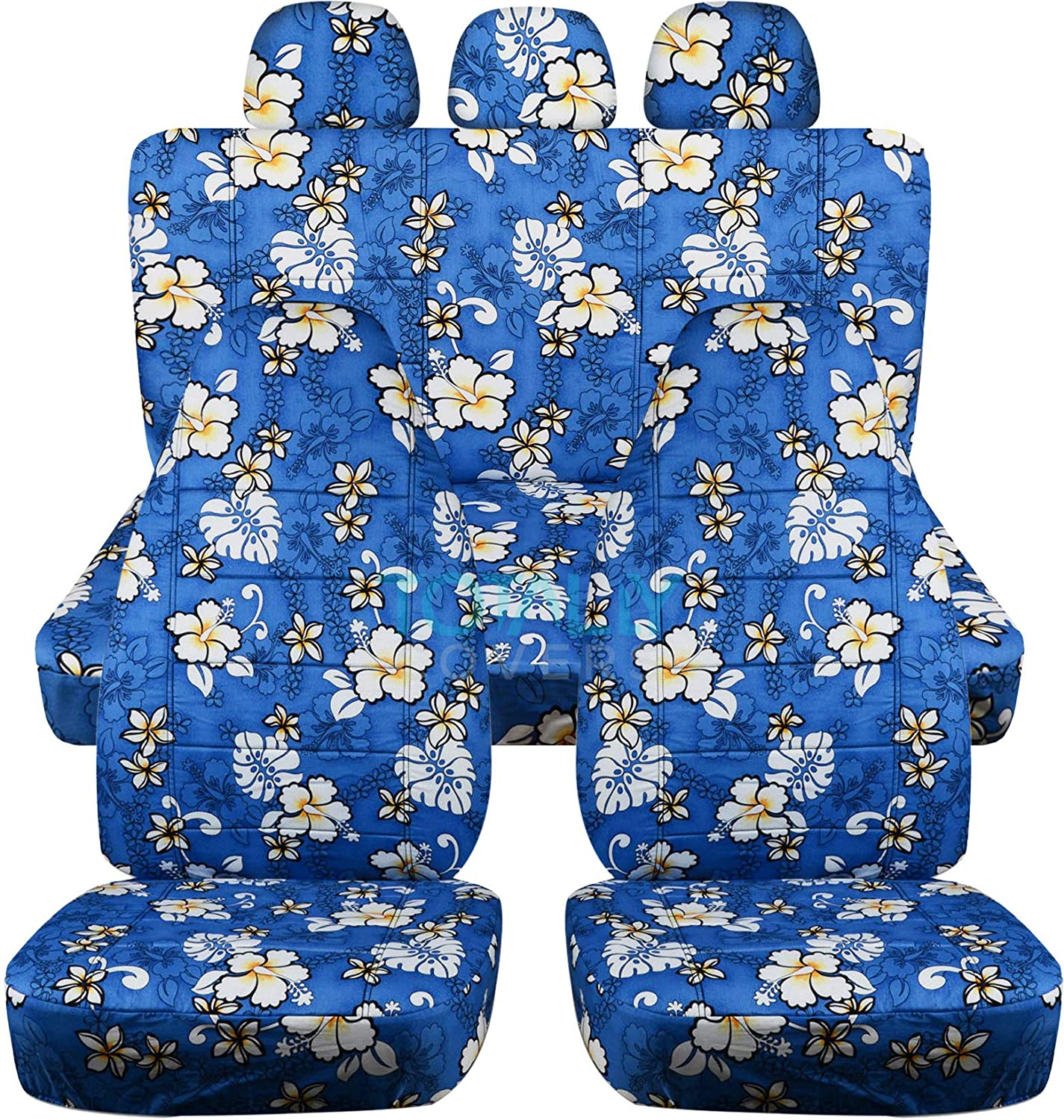 Totally Covers Hawaiian Print Car Seat Covers w 3 Rear Headrest: Blue w Flowers Universal Fit Full Set Front Buckets & Rear Bench Option for Airbag/Seat Belt/Armrest/Release/Lever/Split Compatible