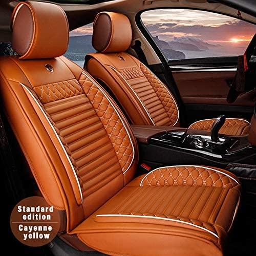 5pcs Car Seat Covers for Peugeot 4008 2012-2016,Classic Soft Waterproof Full Set PU Leather Car Front/Rear Seat Pads(Orange)