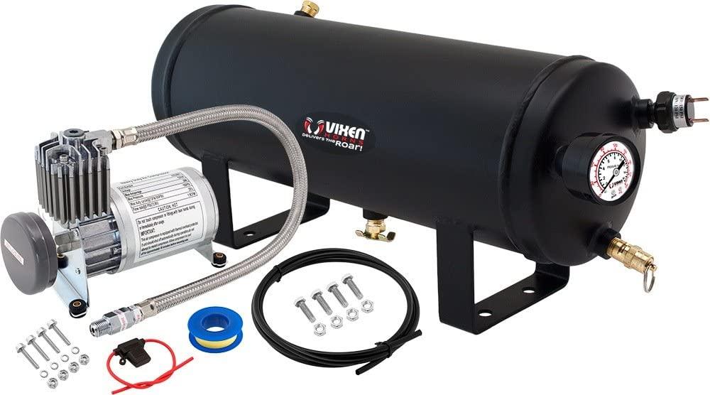 Vixen Horns 1.5 Gallon (6 Liter) Train/Air Horn Tank with 150 PSI Compressor Onboard System/Kit 12V VXO8815