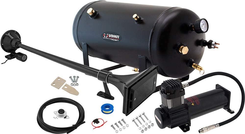 Vixen Horns Train Horn Kit for Trucks/Car/Semi. Complete Onboard System- 200psi Air Compressor, 5 Gallon Tank, 1 Trumpet. Super Loud dB. Fits Vehicles Like Pickup/Jeep/RV/SUV 12v VXO8350B/1167B