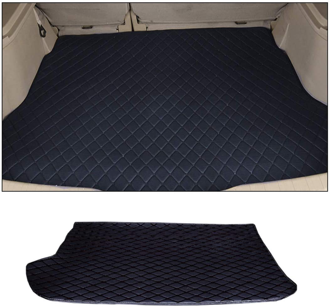 Jiahe Original Car Cargo Liner for Ford Focus Sedan 2012-2014 Trunk Leather Floor Mat All Weather Trunk Protection,Trimmable,Durable,Foldable,Black