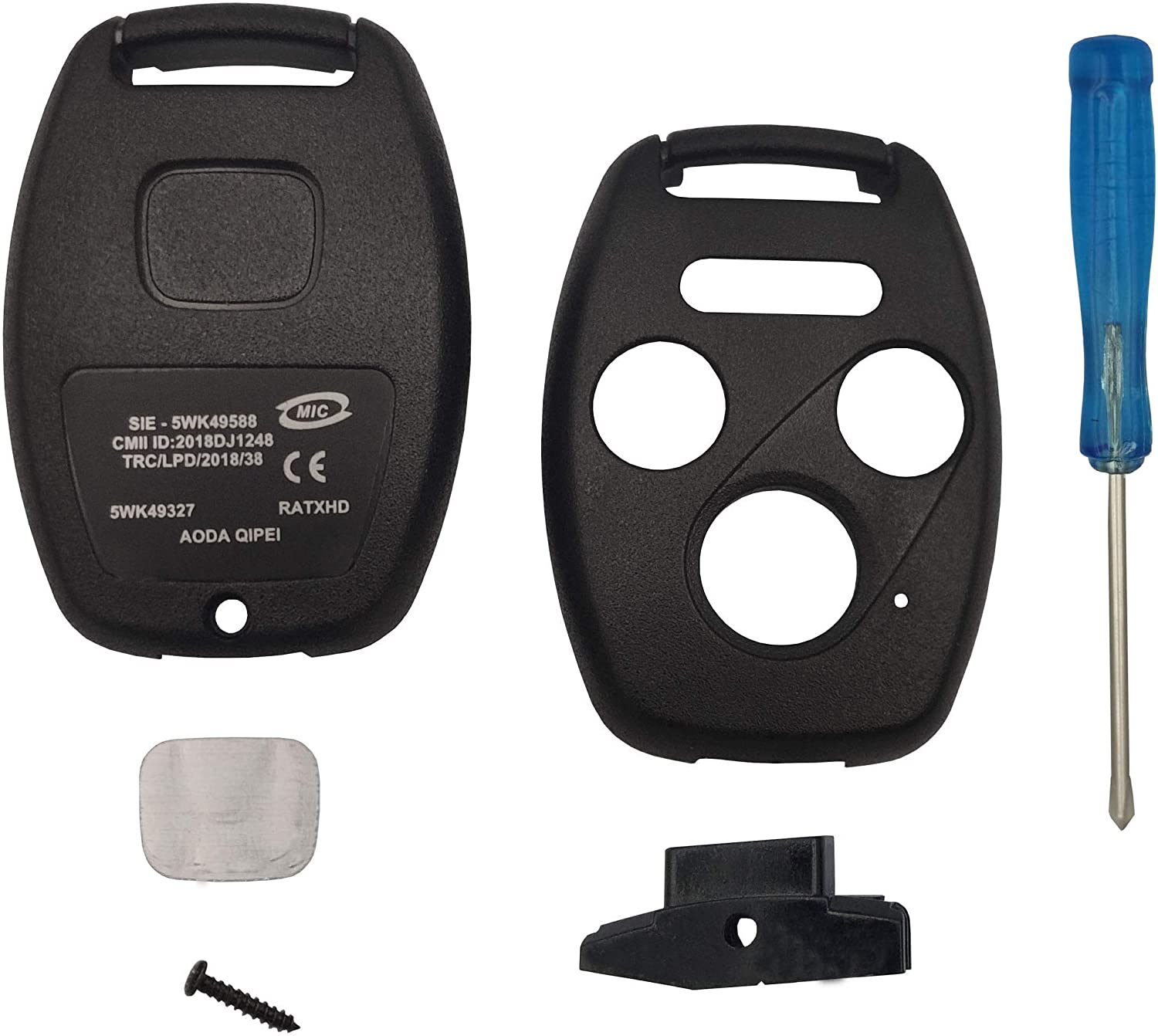 3+1 Buttons Replacement for Keyless Entry Remote Honda Key Fob Case Fit For Honda 2008-2012 Accord 2006-2013 Civic EX 2009-2015 Pilot Fit For Honda 2008-2012 Accord 2006-2013 Civic EX 2009-2015 Pilot