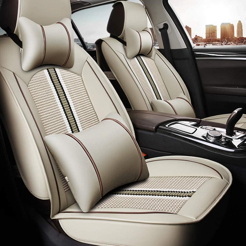 ALLYARD for Nissan Leaf Two Front Car Seat Cover Comfort Leatherette Full Set All Season Protection Easy to Install (Airbag Compatible) Beige