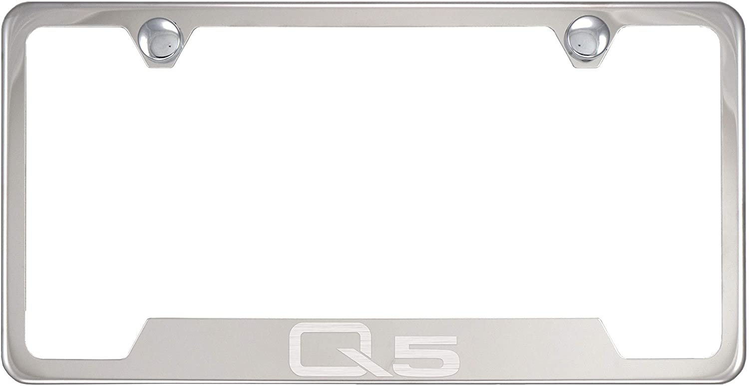 Fit Audi Q5 Polished Chrome Stainless Steel License Plate Frame with Caps