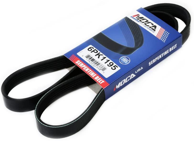 MOCA 6PK1195 Drive Belt for 85-08 Audi TT Quattro Chrysler Sebring & Ford Escort & Mitsubishi Eclipse 1.8-3.8L