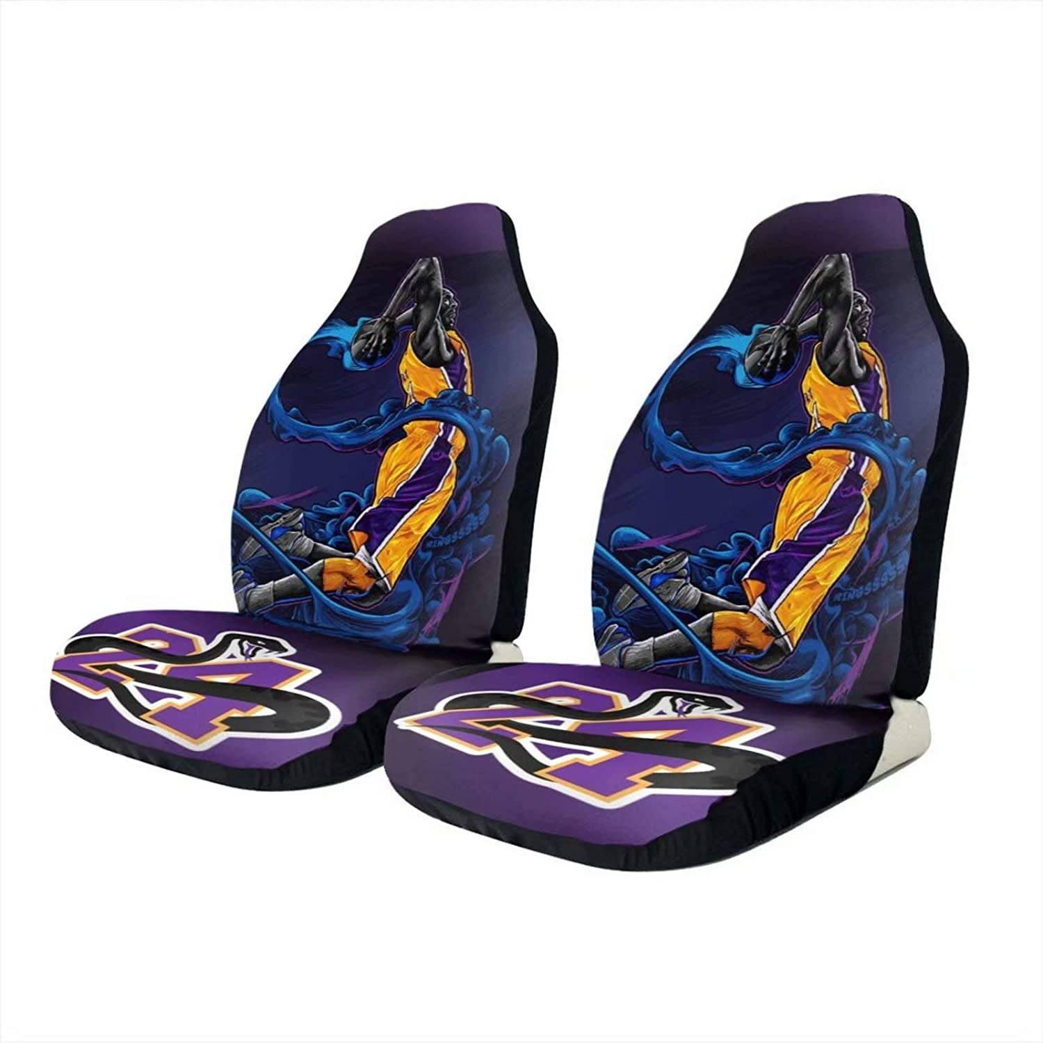 2PCS Los Angeles Basketball Car Seat Cover Player Number 24 Seats Covers Black Mamba Automotive Front Seat Cover Purple Auto Backseat Storage Pocket Interior Car Accessories Fit Car Truck Van SUV