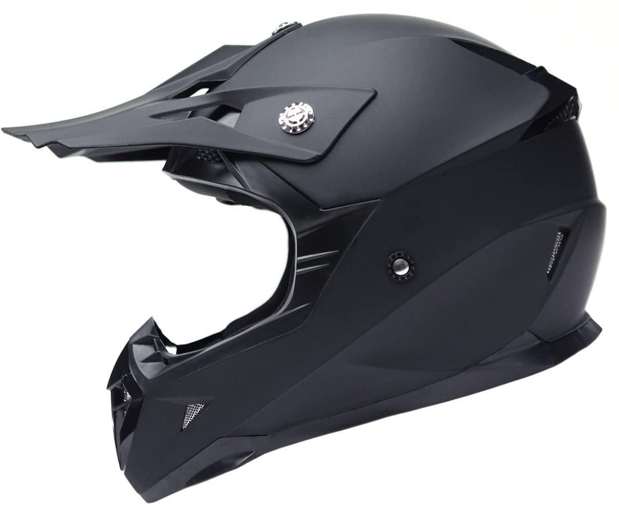 Motorcycle Motocross ATV Helmet DOT Approved - YEMA YM-915 Motorbike Moped Full Face Off Road Crash Cross Downhill DH Four Wheeler MX Quad Dirt Bike Helmet for Adult Men Women - Matte Black,S