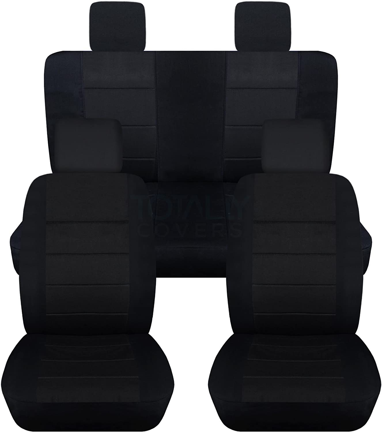 Totally Covers Compatible with 2007-2010 Jeep Wrangler JK Seat Covers: Black - Full Set: Front & Rear (23 Colors) 2-Door/4-Door Complete Back Solid/Split Bench