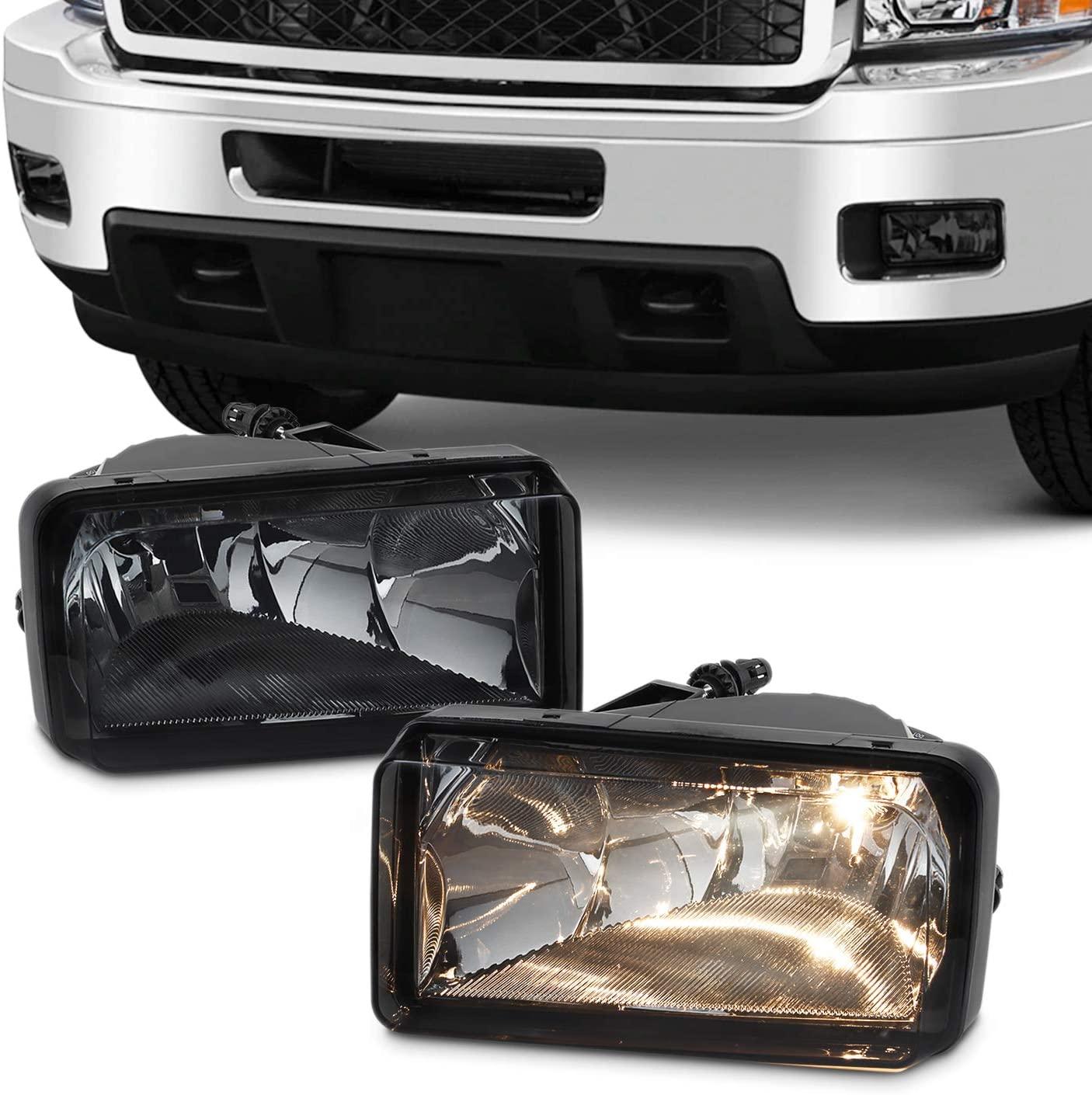 For 2007-2013 Chevy Silverado Suburban Tahoe Avalanche Bumper Smoke Fog Lights w/Bulbs Replacement