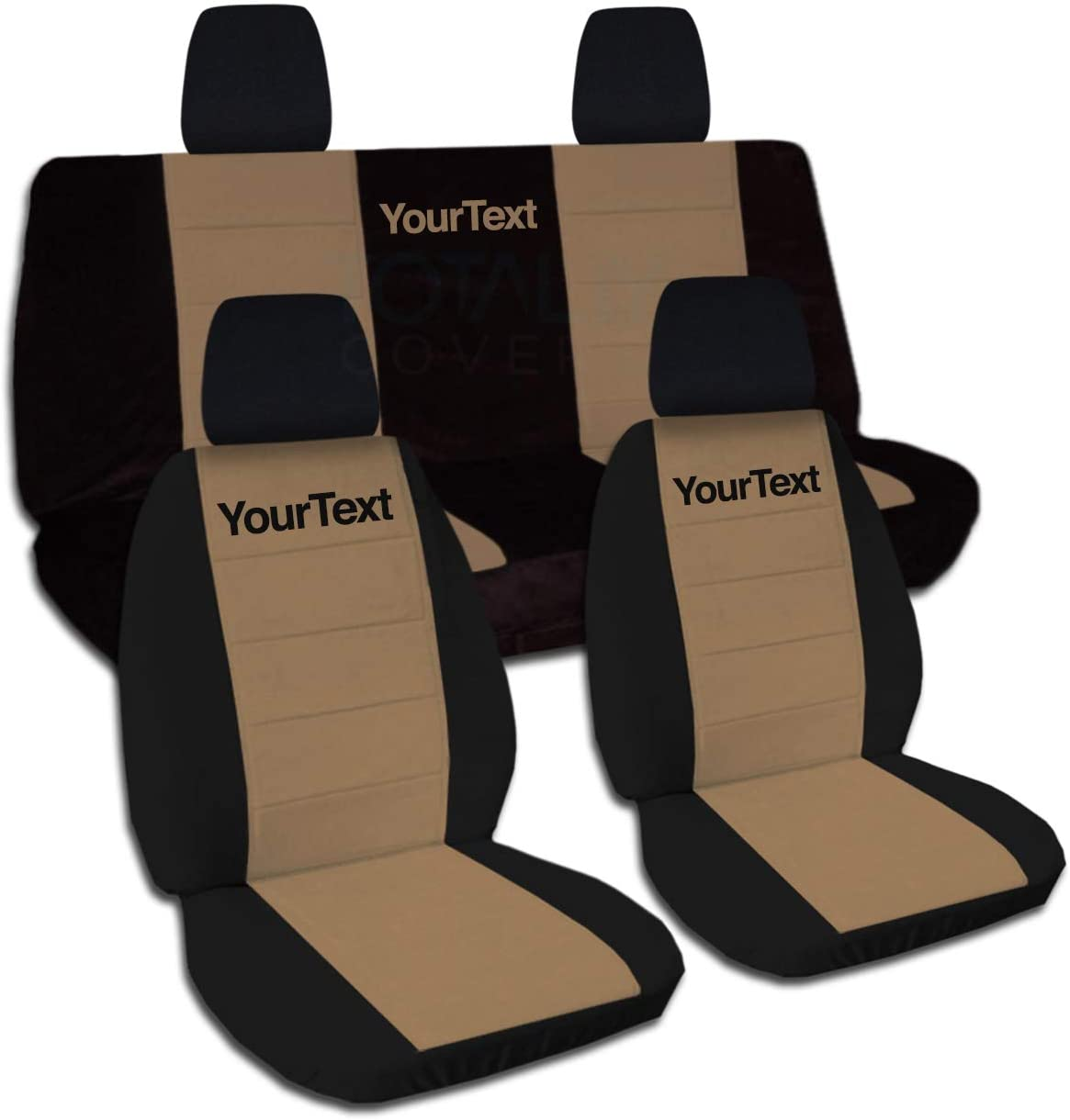 Totally Covers Compatible with 2011-2018 Jeep Wrangler JK Two-Tone Seat Covers w Your Name/Text: Black & Brown - Full Set: Front & Rear 2-Door/4-Door Solid/Split Bench