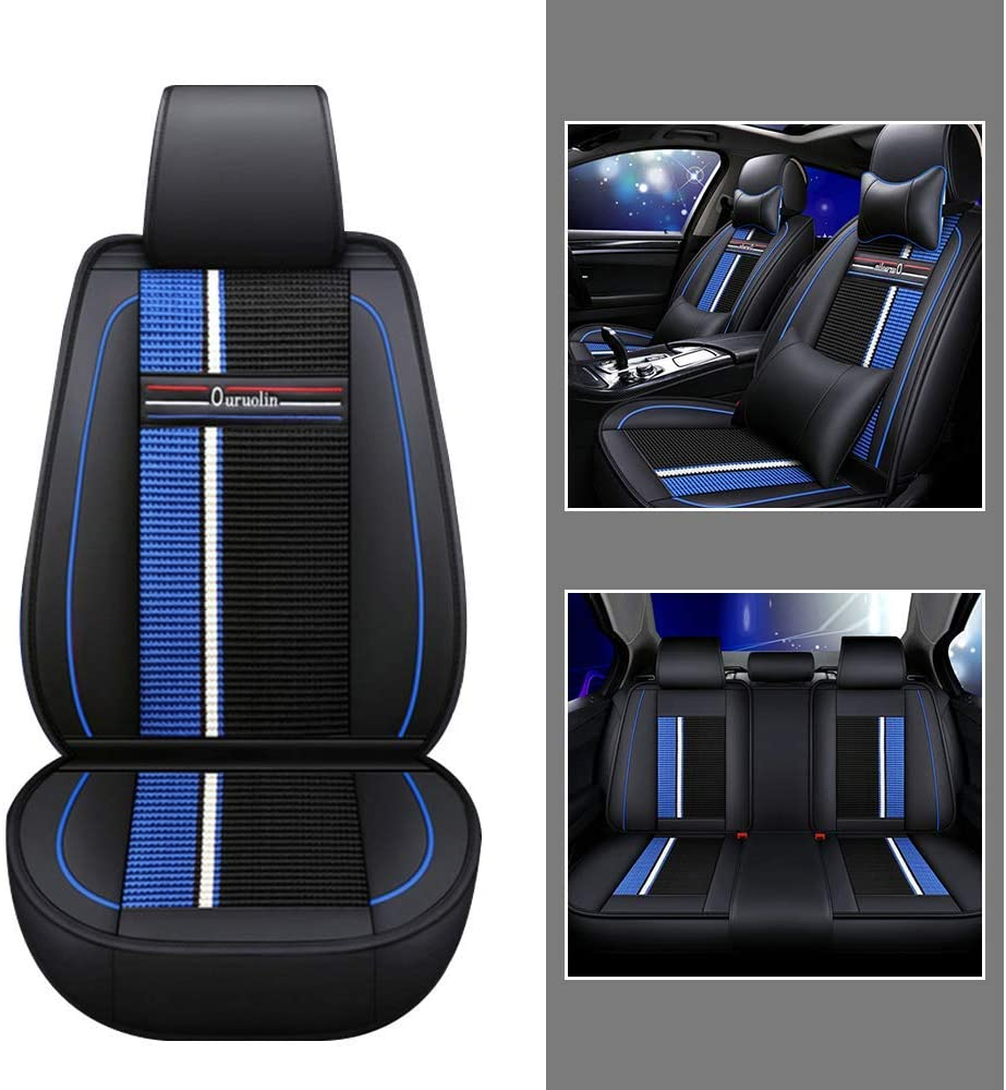 Luxury Leather Car Seat Covers Set for Ford Eco Sport Breathable and Anti-Slip All-Season Seat Protector with Headrest and Backrest Pillow Fit 5 Seats Black blue