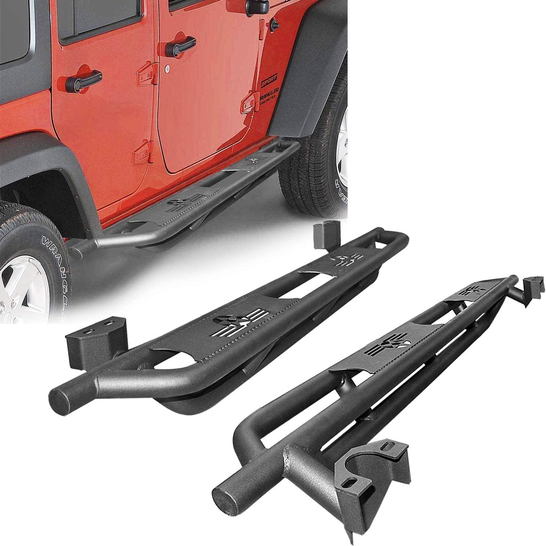 Side Step Rails Running Boards Compatible for Jeep Wrangler JL 2018-2019 4Door, Black Textured Nerf Bars