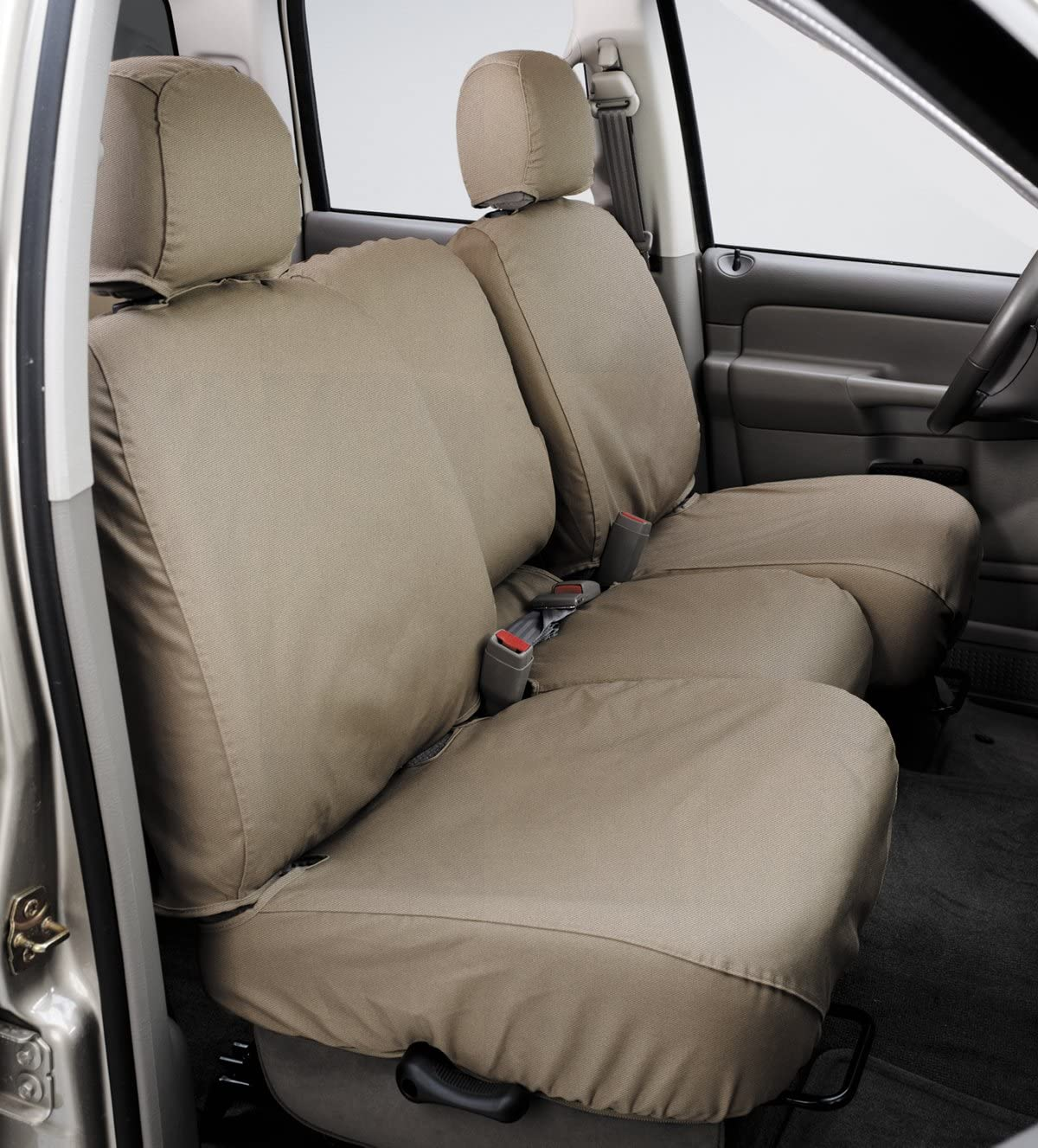Covercraft SeatSaver Front Row Custom Fit Seat Cover for Select Nissan Frontier/Nissan Xterra Models - Polycotton (Taupe)