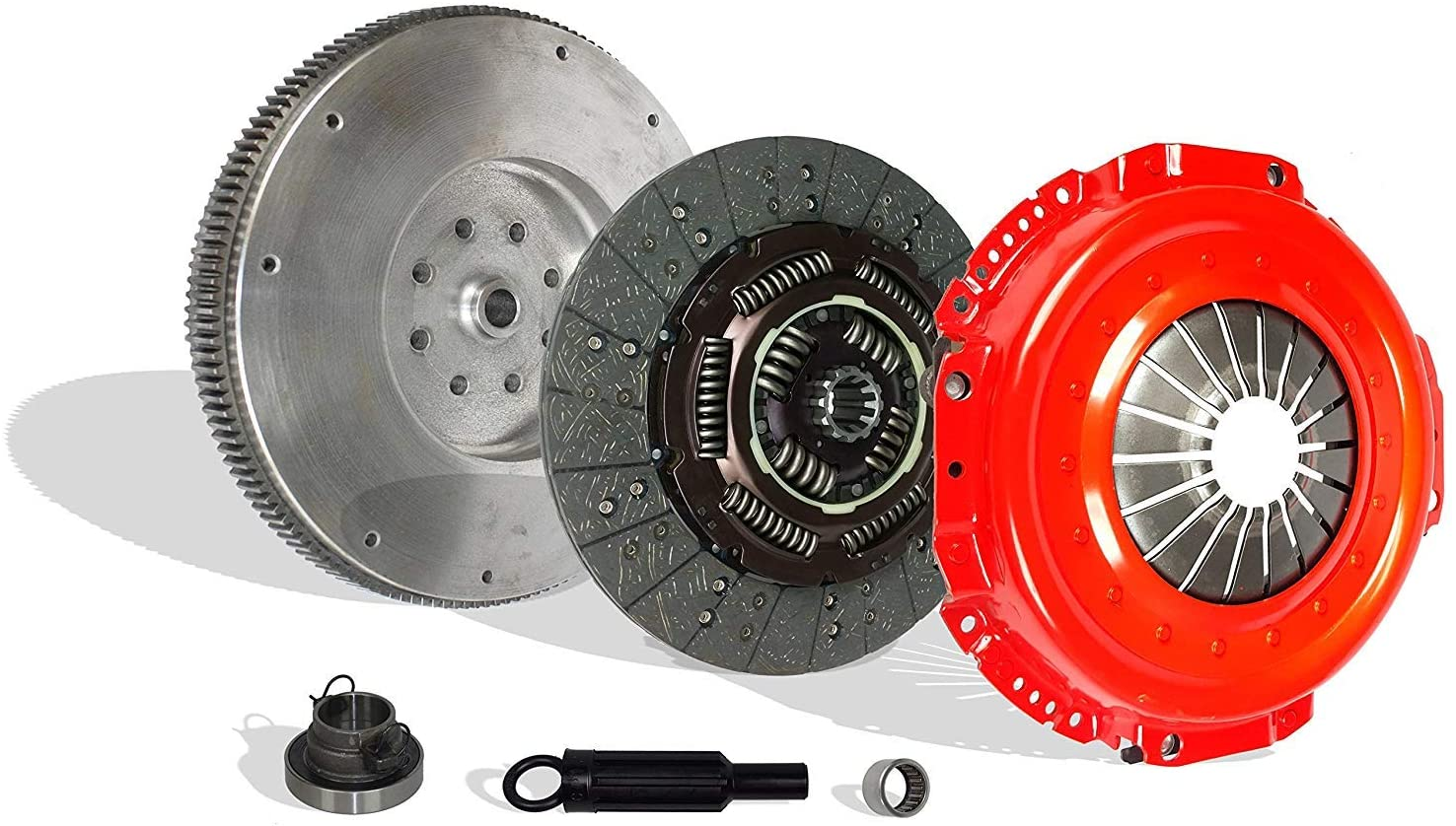 Clutch Kit And Flywheel Compatible With Ram 2500 3500 Laramie SLT ST Base Cab Pickup 1998-2004 5.9L l6 DIESEL OHV Turbo (CUMMINS TURBO DIESEL; 5-SPEED; Stage 2; 05-092RFW)