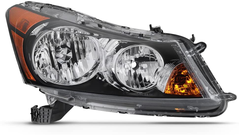 VIPMOTOZ Black Bezel Amber Lens OE-Style Headlight Headlamp Assembly For 2008-2012 Honda Accord Sedan, Passenger Side
