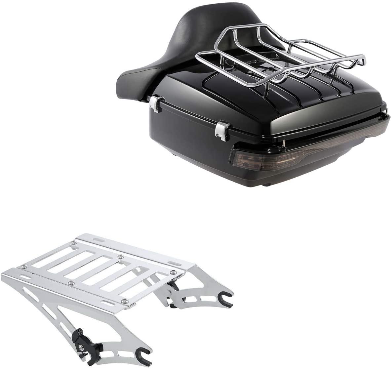 XFMT LED King Tour Pack Trunk W/Backrest Pad Luggage Rack Mount Rack Brake/Turn/Tail Light For Harley Touring Road King Electra Street Glide 2014-2020