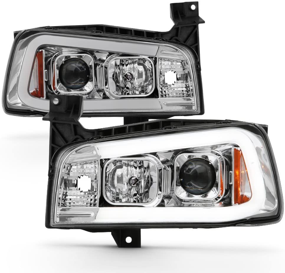 ACANII - For 2006 2007 2008 2009 2010 Dodge Charger LED Tube Projector Headlights Headlamps Driver & Passenger Side