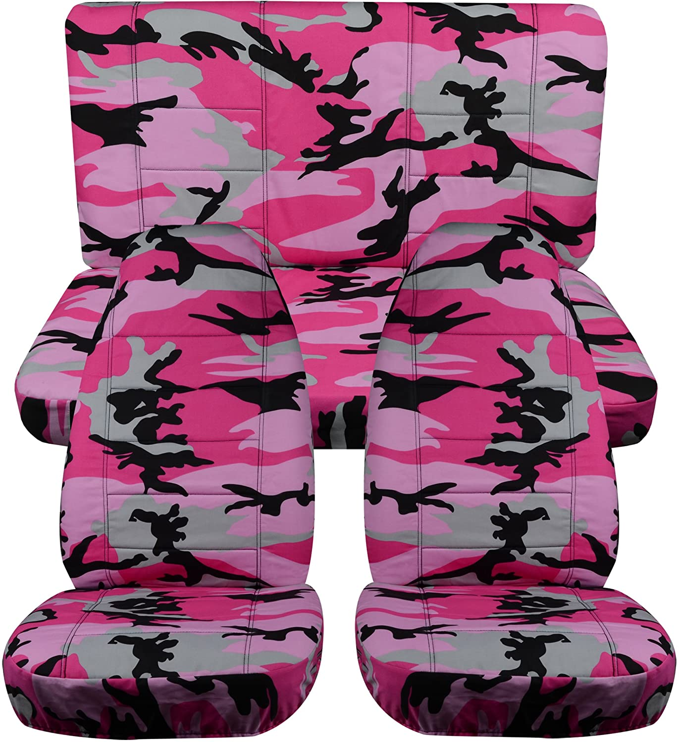 Totally Covers Compatible with 1997-2006 Jeep Wrangler TJ Camo Seat Covers: Pink Camouflage - Full Set: Front & Rear (19 Prints) 2-Door Complete Back Bench